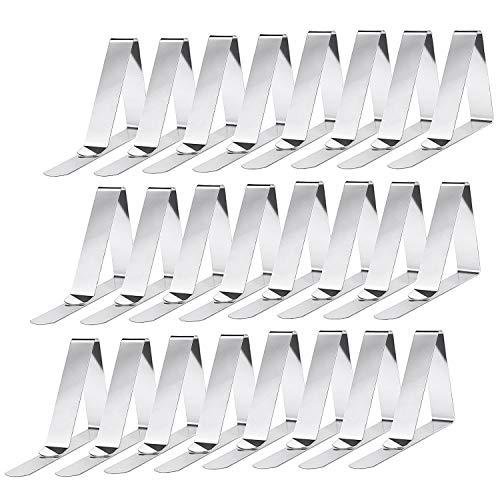 Smart Nice 24 Pack Pinzas para Mantel de Acero Inoxidable Mantel,Clips elásticas de Mantel Pinza para Mantel Cubierta,Plata,Apto para Picnics,Fiestas(Triangle)