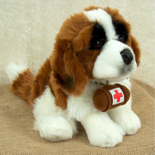 Bernhardiner sitzend mit Rotkreuz Faß Rettungshund