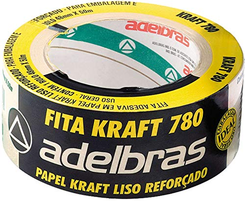Fita para Empacotamento Papel Kraft 780, 48mmX50mts, Adelbras