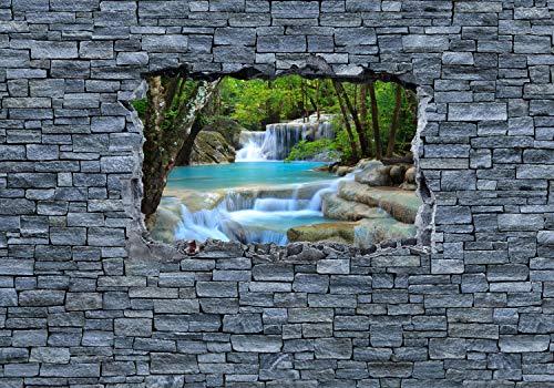 wandmotiv24 Fototapete 3D Erawan Wasserfall im Thailand - Steinmauer, XL 350 x 245 cm - 7 Teile, Fototapeten, Wandbild, Motivtapeten, Vlies-Tapeten, 3D-Optik, Wandbruch, Landschaft M0627