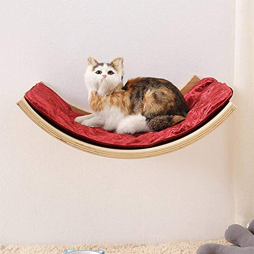 X&MX Cat Hammock Cat House Pet Kitten Relax Dormire Mensola in Legno Massello Mobili per Animali da Compagnia Verde Invia Cuscino Morbido