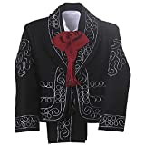 Details and Traditions Boys Charro, Boys Baptism, Mexican Wedding Shirt, Guayaberas, Baptism Outfit, Mens Charro (2 Year, Black/Silver)