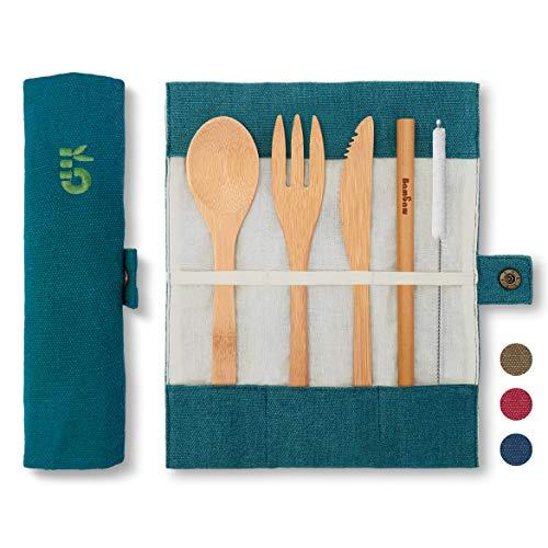 Posate bambu|Laguna|Posate biodegradabili | Set Posate da viaggio | Coltello, Forchetta, Cucchiaio e Cannuccia | Servizio Posate in legno |Posate da campeggio con borsa viaggio | 20 cm | Bambaw