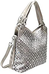 Pewter Mirror Rhinestone Bling Purse
