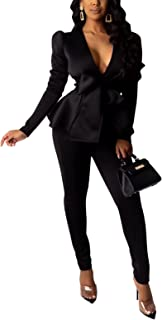2 Piece Outfits for Women Blazer with Pants Deep V Long...