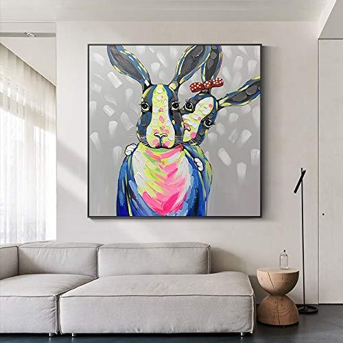 HUIJIE Pintada A Mano Pintura Al Óleo,Animal Abstracto Pintado A Mano Dos Pintura Al Óleo De Conejo En Lienzo Sala De Estar Sofá Decoración del Hogar Moderna Pared Arte Marco,150×150Cm(60×60Inch)