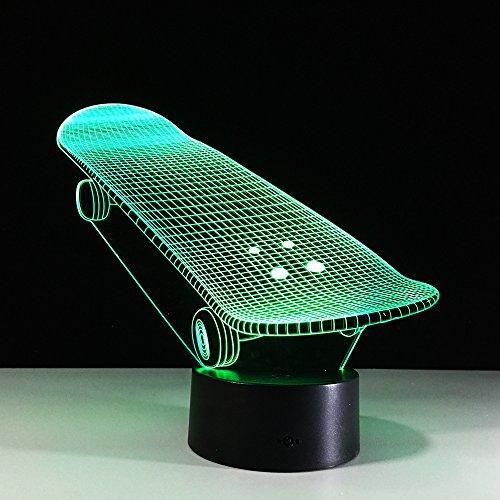 3D skateboard nachtlampje LED optische illusie lamp 7 kleuren aanrakingsschakelaar bureaulamp voor slaapkamer kantoor kinderkamer decoratie licht