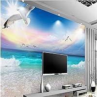 Ljjlm カスタムの大きなフレスコ画青い空と白い雲の美的ビーチシービューテレビの背景壁紙Papelde Parede-160X120Cm