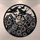 BFMBCHDJ Flying Birds Wall Clock Vintage Bird Flowers Wall Art Vinyl Recrod Clock Spring Birds Home Decor Animals Retro Wall Clock