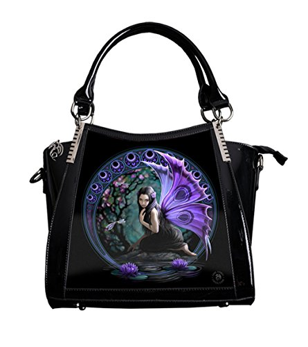 ANNE STOKES 3D Large Hand Bag Black PVC Goth Purple Fairy 'Naiad'