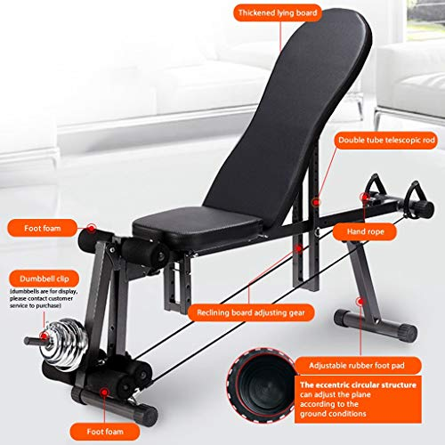 Lanyun Weight Bench Adjustable, Weight Bench Utility Weight Bench for Full Body Workout- Multi-Purpose Foldable Incline/Decline Bench with 2 Elastic Ropes for Home Gym,660Lbs Weight Capacity