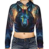 Womens Girls Crop Tops Colorful Hooded Sweaters Blouse Outfits, Winter Plus Fleece Shirts Pullover Hoodies for Couple Workout, Dream Catcher Lunar and Galaxy Wolf