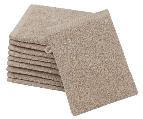 ZOLLNER 10er Set Waschlappen Baumwolle, 16x21 cm, Fango (weitere verfügbar)