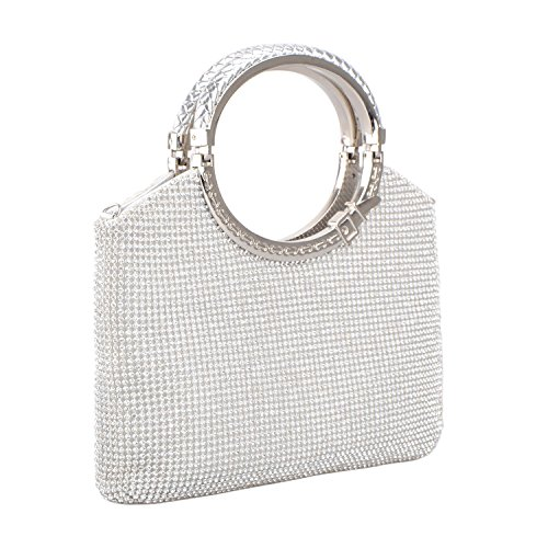 KISSCHIC Women's Handbag Crystal Rhinestone Evening Clutch Bags Party Wedding Clutch Purses (Silver)