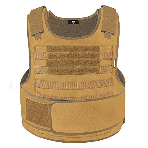 MGFLASHFORCE Tactical Airsoft Vest Molle Adjustable Combat Training Paintball Vest(Tan)