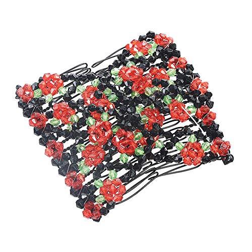Dinglong Pince à cheveux peigne, Double cheveux peigne Magic perles élasticité clip extensible cheveux peignes clips mode (Rouge)