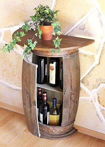 Tavolo A Muro Tavolo Botte 0373-R Marrone Nero Scaffale-Vino Botte 73 Cm Tavolino