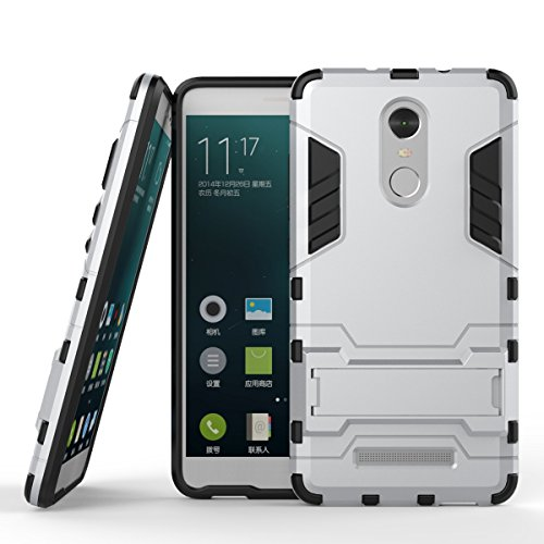 Yhuisen 2 in 1 Iron Armor Tough Style Hybrid Dual Layer Armor Defender PC + TPU beschermende harde behuizing met standaard [Shockproof Case] ​​voor Xiaomi redmi Note 3 (Color : Silver)