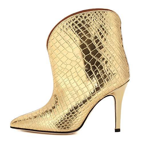 LIUJUN-WEI Botines De Mujer, Botas Cortas Sexy Puntiagudas con Patrón De Cocodrilo, Botas Elásticas De Tacón De Aguja Personalizadas De Charol, Tamaño (Color : Gold, Size : 45EU)