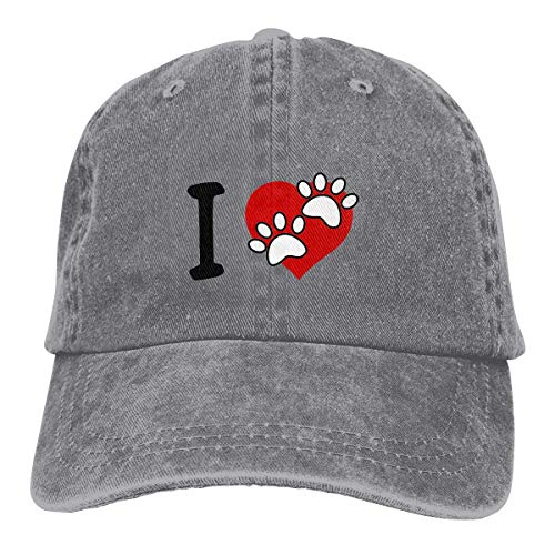 Herren Damen Baseball Caps,Hüte, Mützen, Unisex Adult Love Paw Print Washed Denim Cotton Sport Outdoor Baseball Hat Adjustable One Size