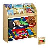 Relaxdays Kinderregal mit 6 Aufbewahrungsboxen, niedrig, Spielzeugregal, MDF, Kunststoff, 89 x 82,5 x 32 cm, Holzoptik, 1 Stück