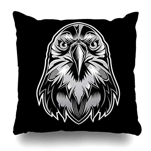 N\A Throw Pillow Cover Square Label Cabeza de águilas Tribales Detallada en Wild Abstract America American Bald Beak Design Funda de cojín Decoración para el hogar Diseño Funda de Almohada