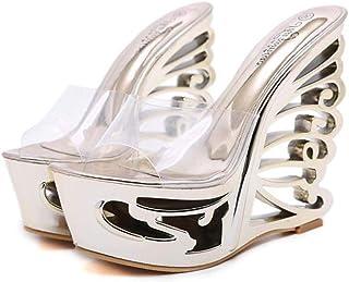Women's Metal Wedge Sandals,Summer Breathable Sponge Cake Heel Shoes,Ladies PeepToe Fish-Billed Sandals Non-Slip Shoes