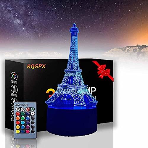 Torre Eiffel LED Luz de noche 3D Ilusión 16 colores cambio decoración lámpara de mesa con control remoto, regalos de Navidad día de San Valentín para niños habitación