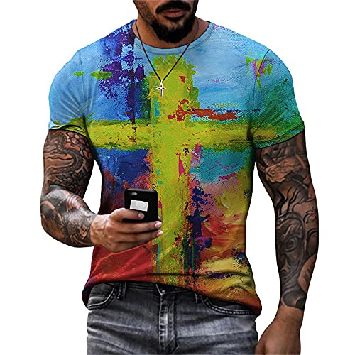 Shirt Hombres Estilo Hip Hop Vintage Cuello Redondo Manga Corta Hombres T-Shirt Verano Graffiti Moda Imprimir Hombres Shirt Ocio Personalidad Diseño Tendencia Hombres Streetwear TTA20-28 L