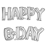 Happy Bday Connection Letter foil Balloons Birthday Party Decorations Kids Party Decoration Balloons air Balloons Baby Shower (Happy Bday Silver)
