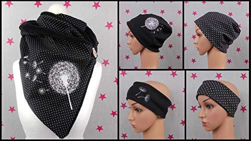 pinkeSterne ☆ Warmer Knopfschal Beanie Stirnband Pusteblume Schwarz Stickerei Punkte Dots