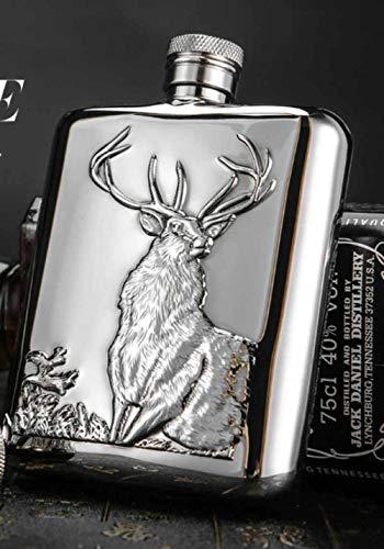 Luxus schöne Flachmann Hip-Kolben für Whisky Vodka 200ml Hirsch Motiv