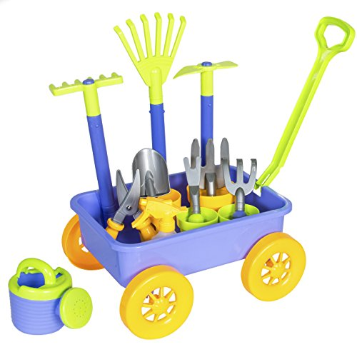 Best Choice Products 14-Piece Garden Wagon and Toy Set w/ 8 Gardening Tools, Pots, Pail for Kids, Children - Multicolor
