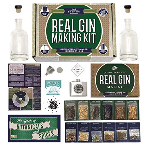 Real Gin Making Kit (Deluxe Edition) w/ Stainless Steel Personalized Flask, For Making Delicious Martinis, Gin and Tonics, Spirits & Cocktails At Home | Botanicals, Recipe Guides, Bottles & Labels & M