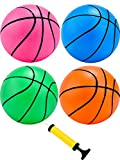 4 Pieces Mini Basketball Inflation Mini Ball with Pump and Basketball Needles (5 Inch)