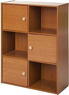 BingWS Libreria Salon Cubo de 3 Niveles 6 con 3 Puertas y 3 estantes de Cubo Abierto Librería Unidad de Almacenamiento Bookshef Estante de exhibición de CD y DVD de Madera de Roble Librerías