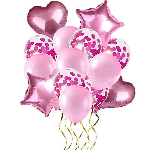 yyuezhi 14 Piezas Juego de Globos de látex Globos en Forma de Corazón y Estrella para Bodas Decoración de Fiesta de Cumpleaños Duchas de Novia y Bebés Globo Estrella Globo Corazón (Rosa)