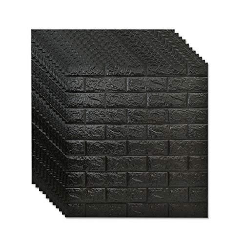 Chun li zhang Wall Panels 3D-White Brick Wallpaper 10 Piezas De Decoración De Pared Interior 3D Autoadhesiva Impermeable 77X70cm (Color : Black)