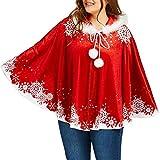 Capa de las mujeres, moda Navidad copo de nieve impresión con capucha casual cálido abrigo blusa top