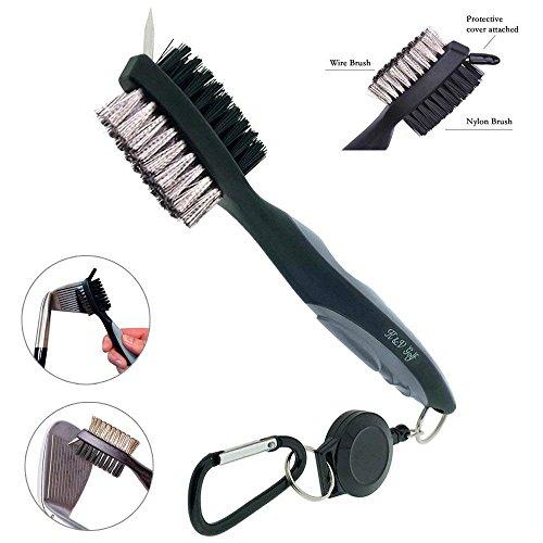 Golf Club Bürste und Groove Cleaner Dual Sided Nylon & Edelstahl-Bürste mit Spike für die Reinigung Club Face & Groove mit Schlaufe Clip (Karabiner) für Hängen auf Golf Tasche (Farbe : Grau)