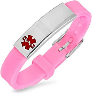 BAIYI Jewelry Free Engraving - Rubber Medical Alert ID Bracelets Pink for Women and Girls