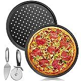 Bandeja para Hornear Pizza,Molde para pizza,2 Bandeja para Pizza Perforada Circular...