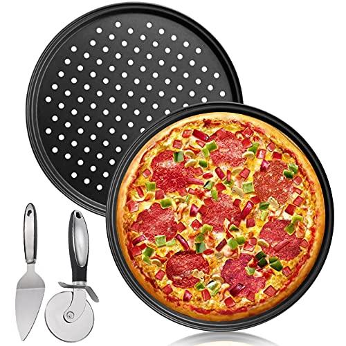 Bandeja para Hornear Pizza,Molde para pizza,2 Bandeja para Pizza Perforada Circular Antiadherente/Bandejas para Pizza,Cortador de Pizza+Pala para Pizza-Adecuado,Fiestas Familiares de Cocina