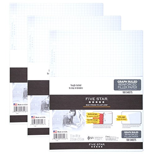 """Five Star Filler Paper, Graph Ruled Paper, 100 Sheets/Pack, 11"""" x 8-1/2"""", Reinforced, Loose Leaf, White, 3 Pack (73187)"""