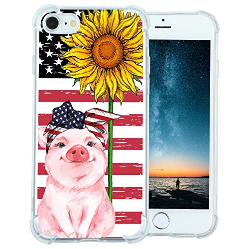 for American Flag iPhone SE 2020/8/7 Case, Pig Smile with Sunflower Case,Slim Soft TPU Case with Unique Pattern for Men Boys Girls, Shockproof Cool Trendy Phone Case Cover for iPhone SE 2020/8/7