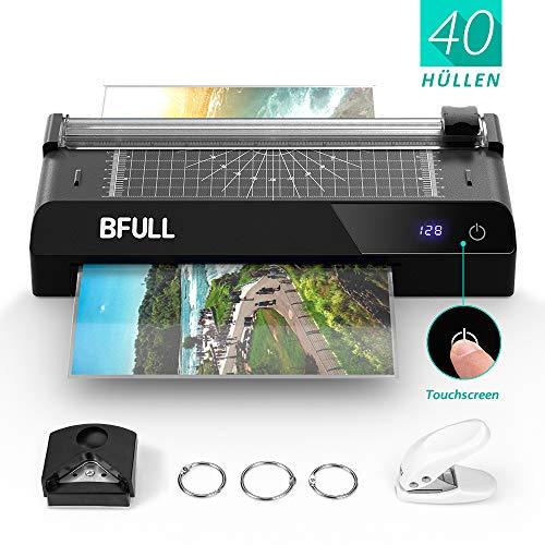 BFULL 6-in-1-Laminiergerät mit Touchscreen, Maschinenset Laminiergerät, A4, Eckabrunder, Papierschneider, 40 Laminier-Hüllen, Lochstanze, für das Zuhause/die Schule/die Büronutzung (schwarz)