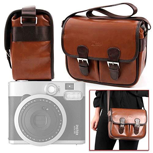 DURAGADGET Bolsa Profesional marrón con Compartimentos para Cámara Fujifilm Instax Mini 90 Neo Classic