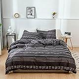 Juego de ropa de cama de algodón, 135 x 200 cm, 4 piezas, 2 fundas nórdicas de 135 x 200 cm y 2 fundas de almohada de 50 x 75 cm, suave y transpirable, color negro