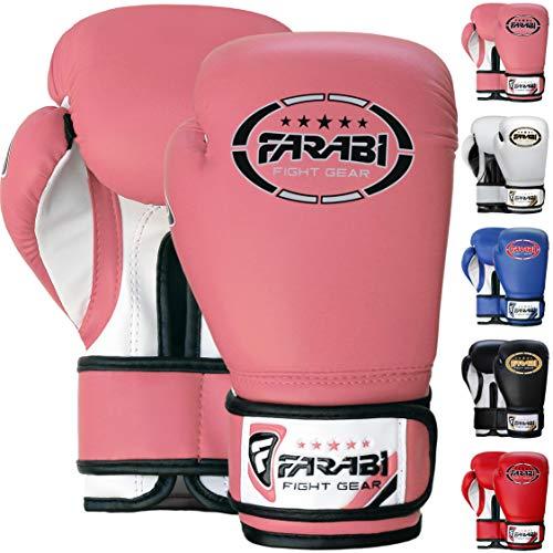 Farabi Niños Guantes de Boxeo Junior Muay Thai Kickboxing Sparring Saco de Boxeo Guantes de Entrenamiento (Pink, 8-oz)