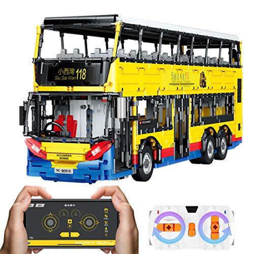SICI Técnica de autobús con motores, modelo de autobús teledirigido de dos pisos, 4255 piezas, bloques de construcción, compatible con la técnica Lego